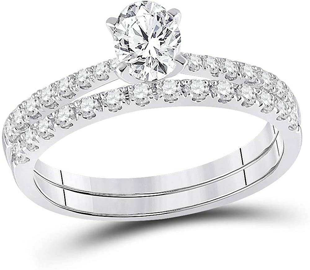 Dazzlingrock Collection 14kt White Gold Oval Diamond Bridal Wedding Ring Band Set 1 Cttw