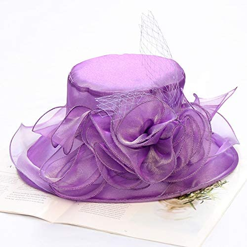 MADONG Summer Sun hat Organza Flowers Korean Version of The Collapsible Sun hat Large Brimmed Beach hat Summer hat mesh