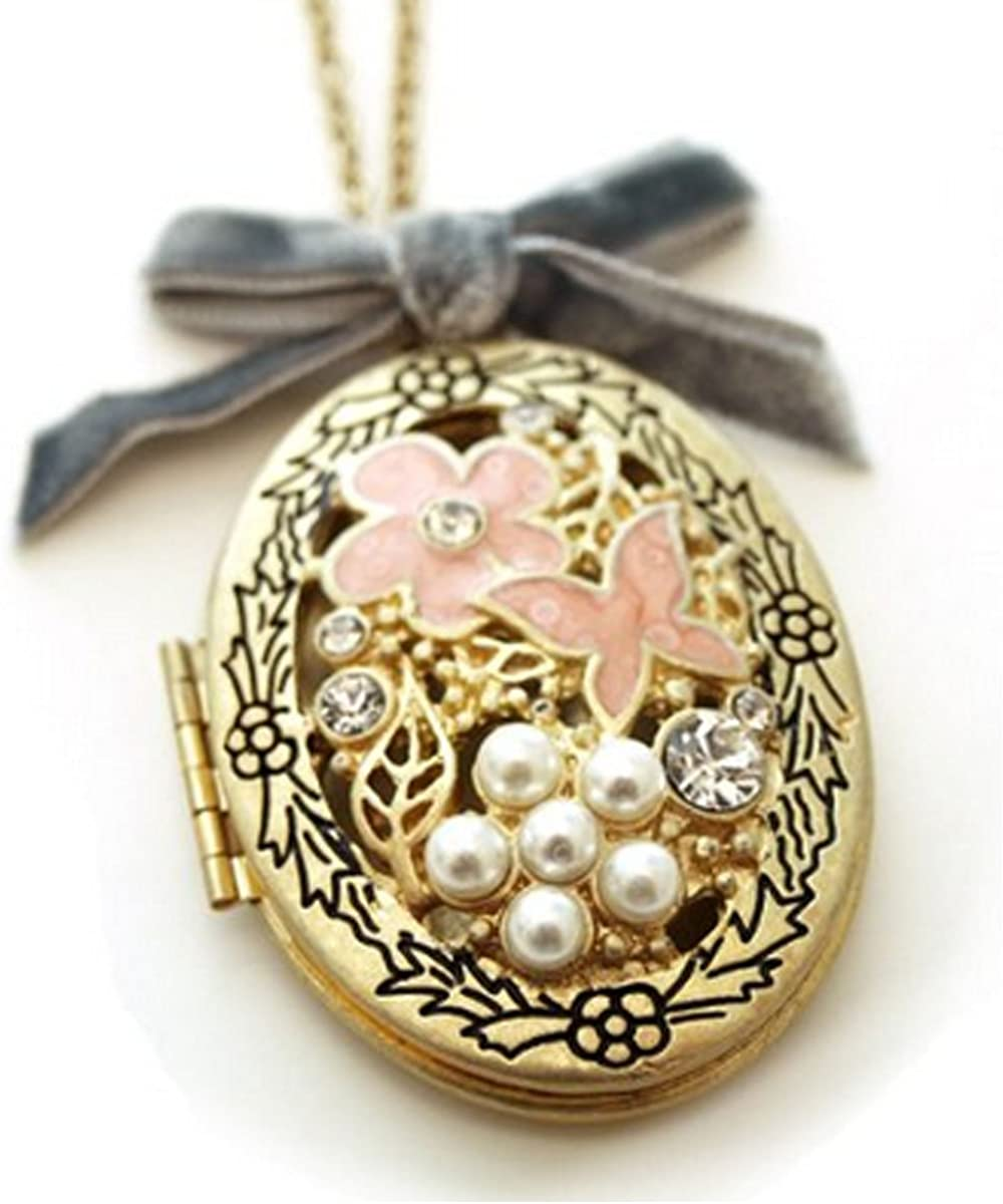 Wrapables Floral Locket Necklace