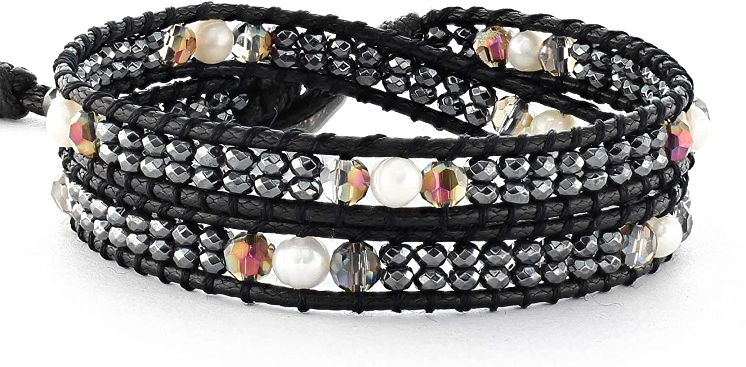 DazzleBlvd Women's Beaded Wrap Handmade Bracelet, Hematite Beads and Freshwater Pearl Beads, 2 Wrap Bracelet