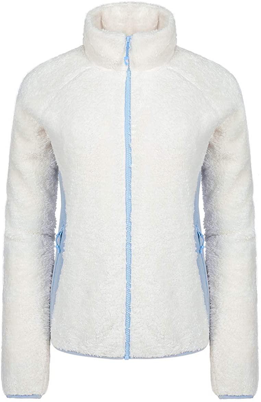 CAMEL CROWN Full Zip Fleece Jacket Women Polar Fuzzy Warm Fluffy Furry Sherpa Fleece Jacket Fall Spring White Blue