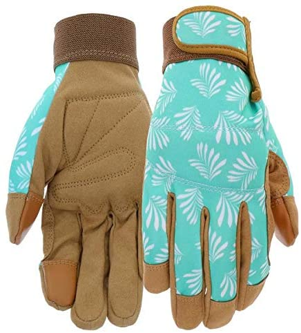 Style Selections Womens Medium Blue/Tan Leather Garden Gloves