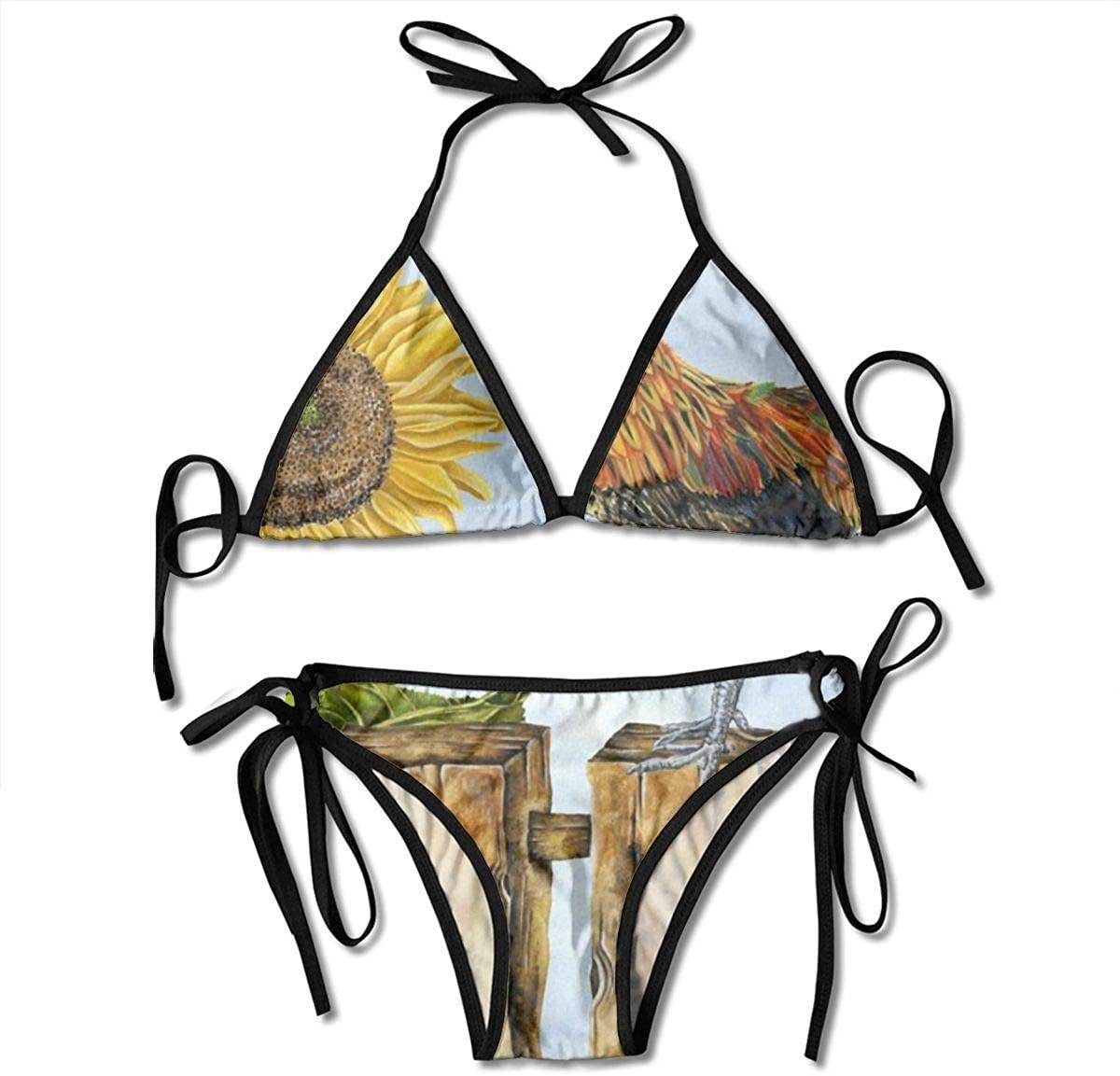 Women's String Triangle Bikini Set Two Piece Vintage Sunflower Rooster Swimsuit Black