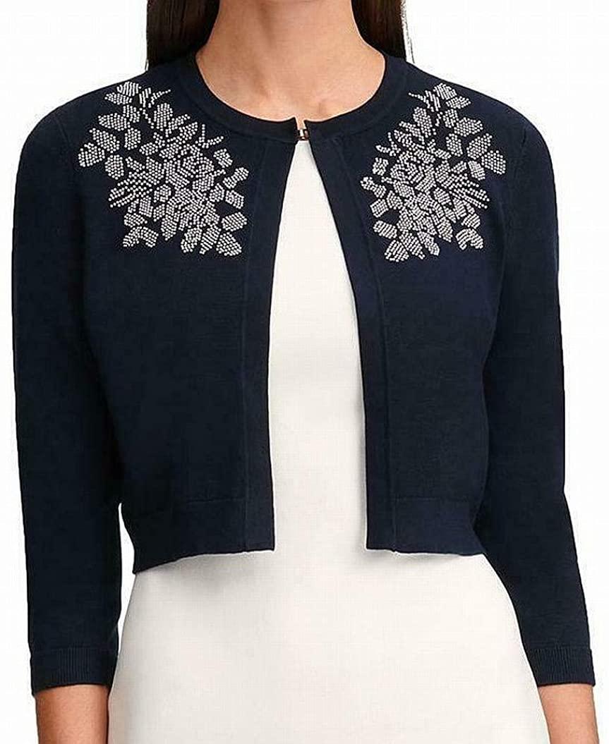Tommy Hilfiger Womens Embellished Knit Shrug Sweater Navy M