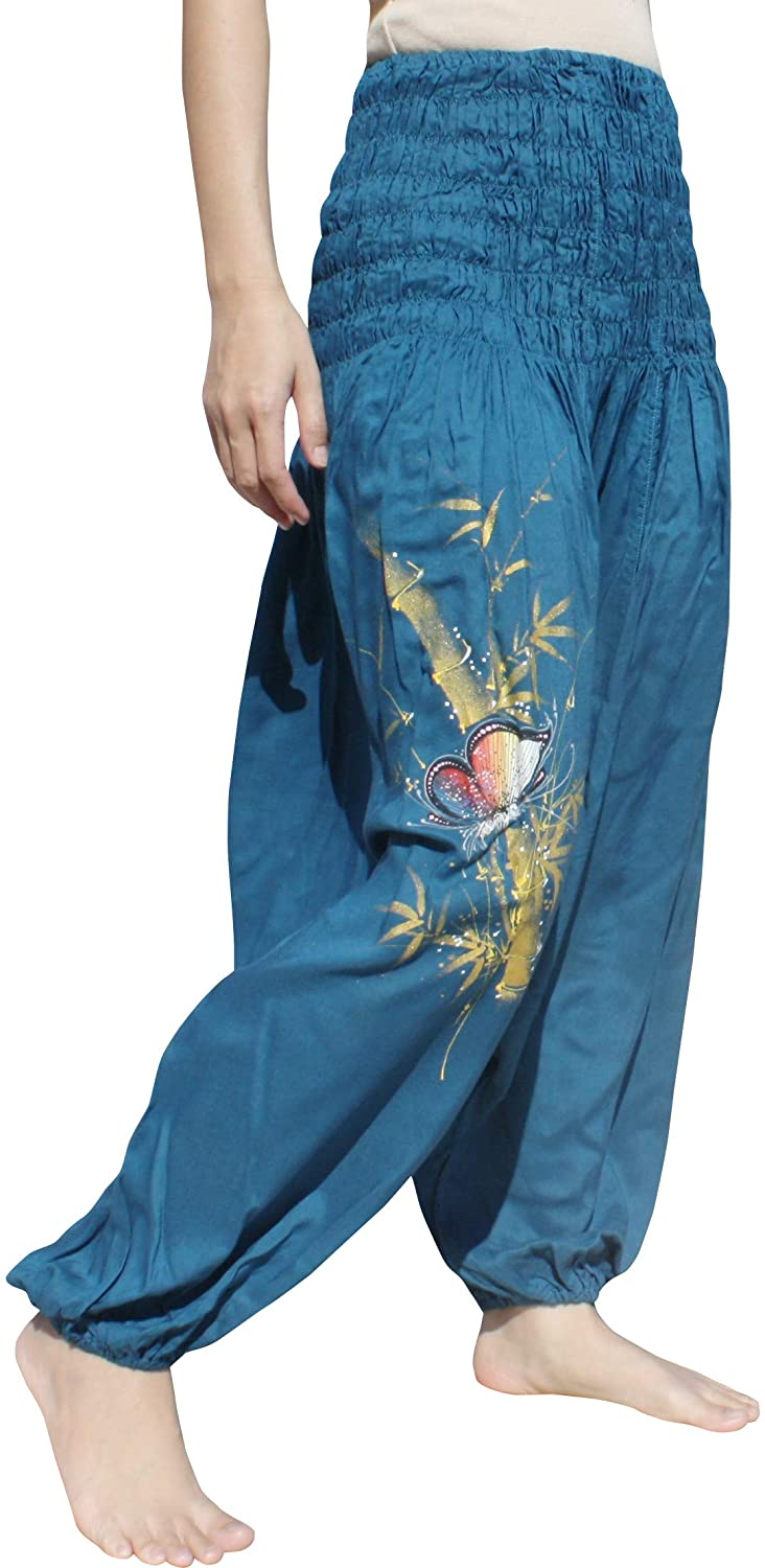 Full Funk Rayon Mao Smock Waist Pants with Hand Painted Artwork