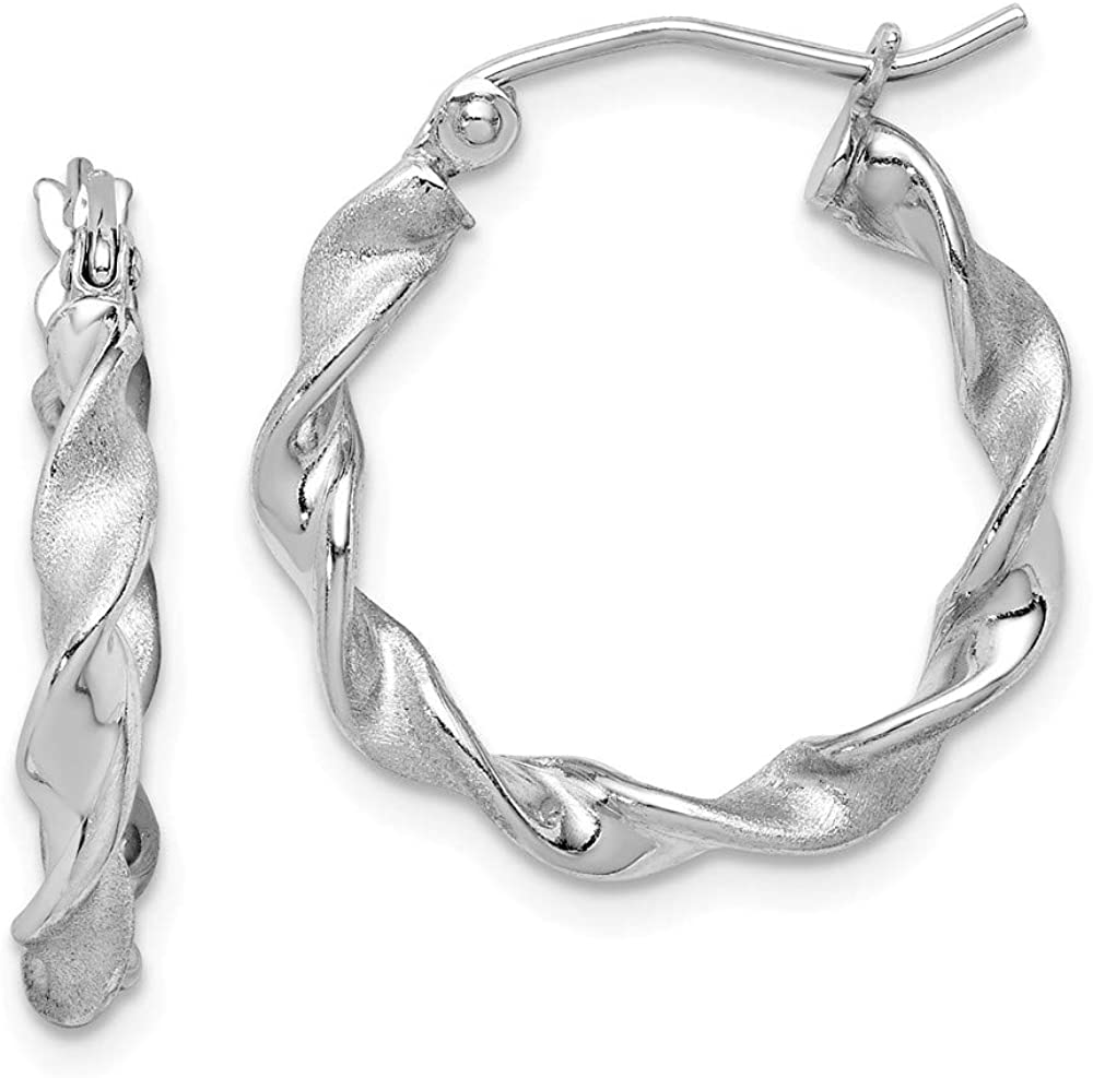 Mia Diamonds 925 Sterling Silver Rhodium Plated Polished and Satin Twist Hoop Earrings (20mm x 20mm)