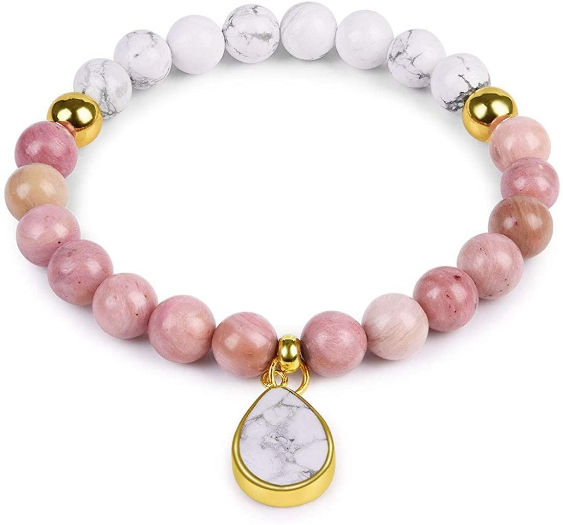 Cat Eye Jewels Druzy Beads Bracelet 8mm Semi Precious Stone Stretch Engravable Heart Charm Bracelet