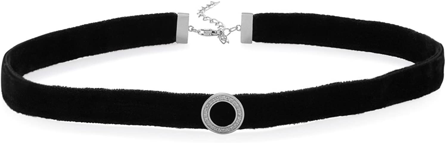 12.5 In + 2 In Extention Blk Velvet Choker Rhod. P. CZ Circle Cz Circle 11.8mm Lob clasp Closure Jewelry Gifts for Women