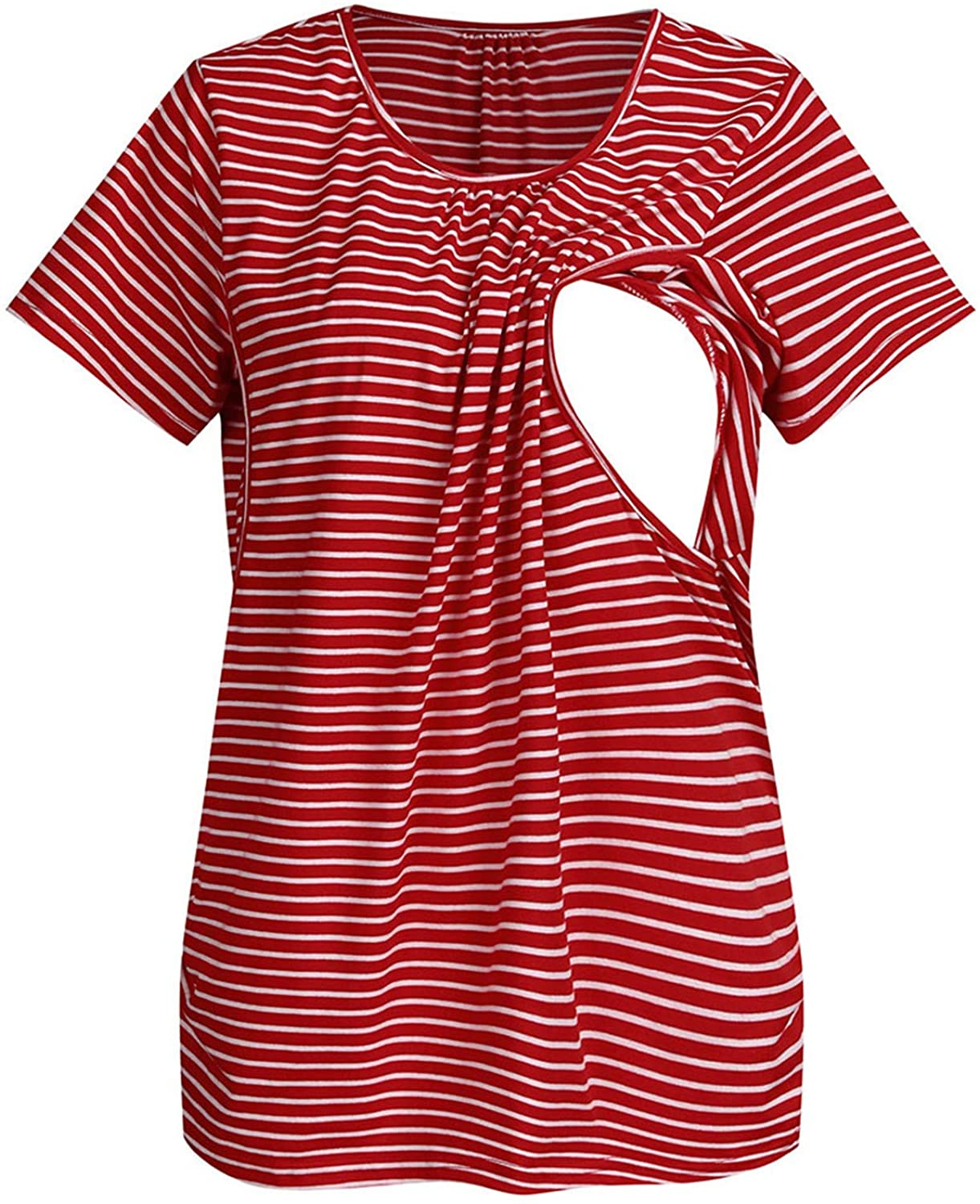 Soluo Striped Breastfeeding T-Shirt Round Neck Short Sleeve Maternity Nursing Top Clothes
