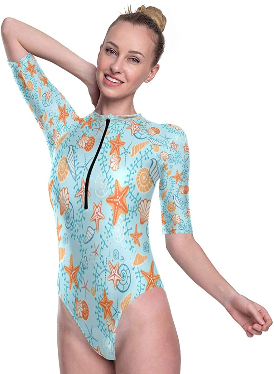 SLHFPX Womens One Piece Short Sleeve Rashguard Surf Swimsuit Sea Seashells Starfish Bathing Suit