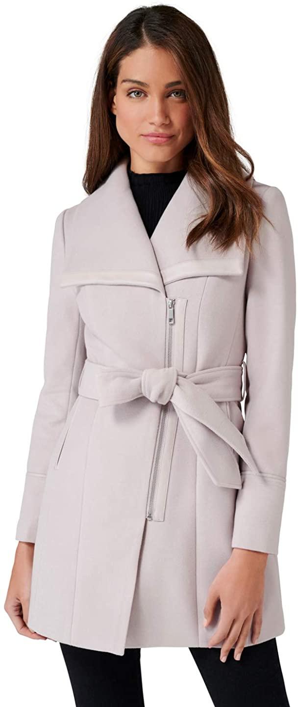 Ever New Womens Elana Funnel Neck Faux Leather Trim Coat - Black,Mink