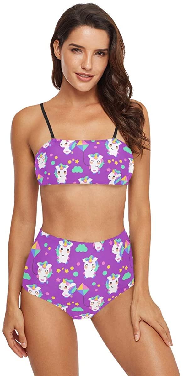 Bikini High Waisted Women Swimsuits - Cute Unicorn Bathing Suits Swimwear for Girls Teens
