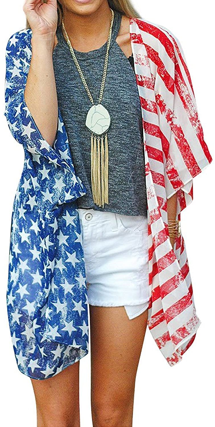 YUEDOOD Women American Flag Print Beach Cover up Loose Kimono Cardigan