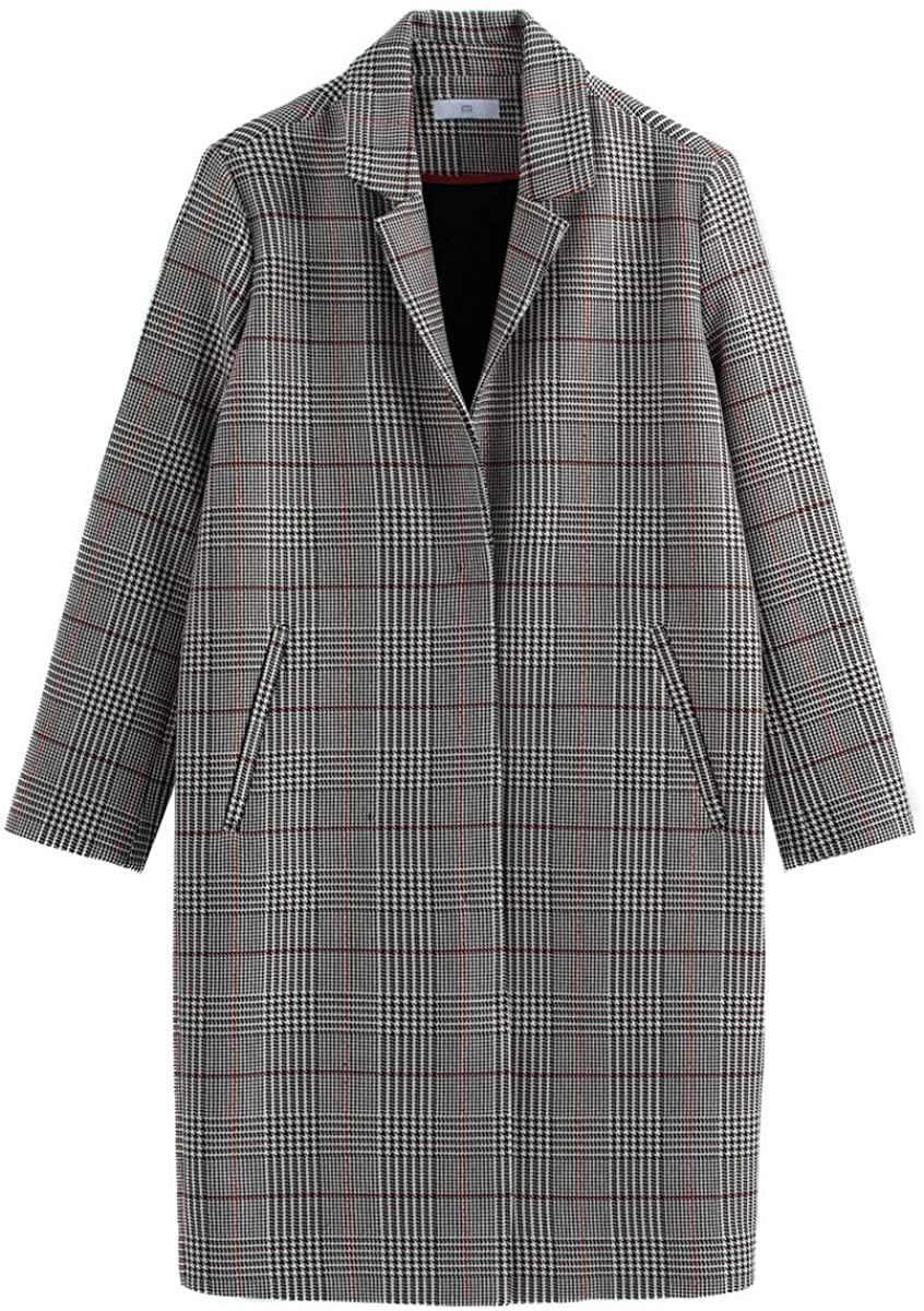 La Redoute Collection Womens Checked Single-Breasted Boyfriend Coat with Pockets