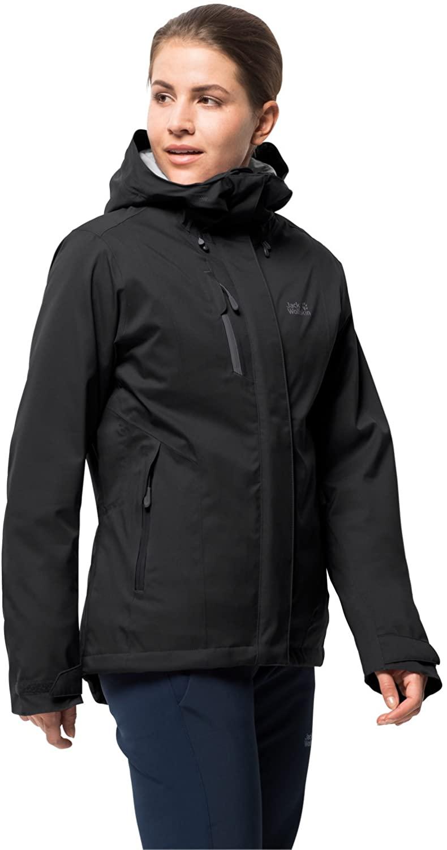 Jack Wolfskin Women's Troposphere Waterproof Hybrid Down-Fiber Insulated Jacket, Black, Small
