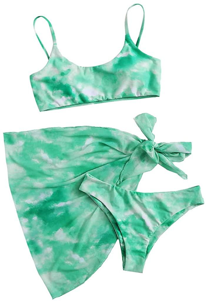 GDJGTA Women High Waisted Bikini Set Sport Tie Dye Bandeau Bathing Suits High Cut Three Piece Crop Top Swimsuit