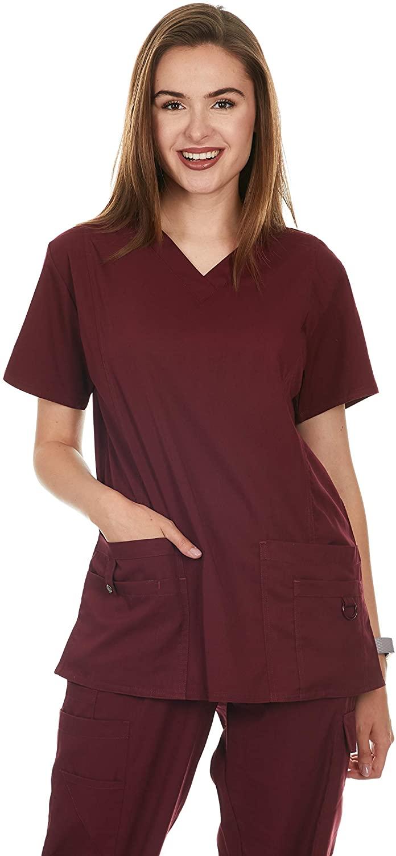 Women's V-Neck Medical Scrub Tops (UFT112) (Burgundy, Large)