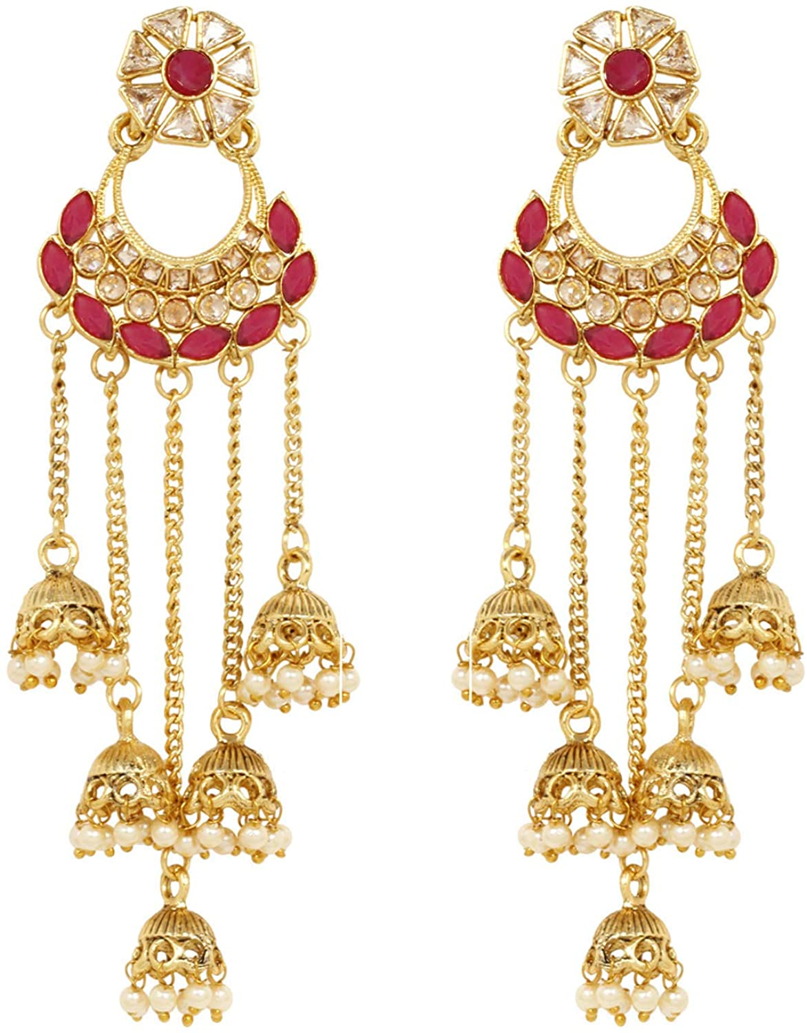 SANARA Exclusive Gold Plated Dangle Drop Jhumki Earrings Traditional Fashionable jewelry