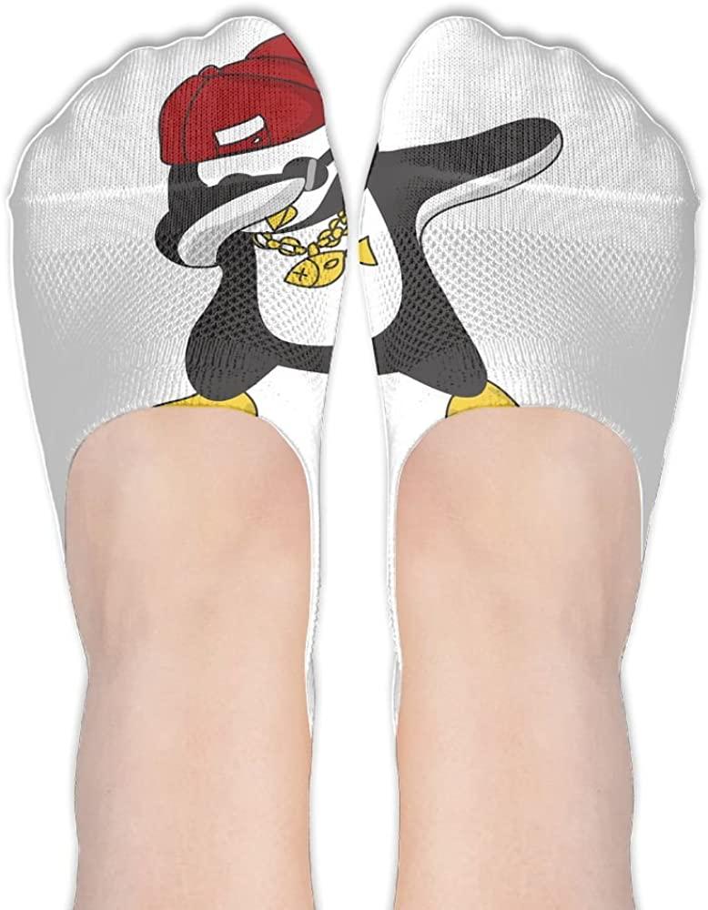 Womens Penguin Dabbing Hidden Cotton Liner Socks Sports Boat Socks No Show Socks Athletic Low Stockings