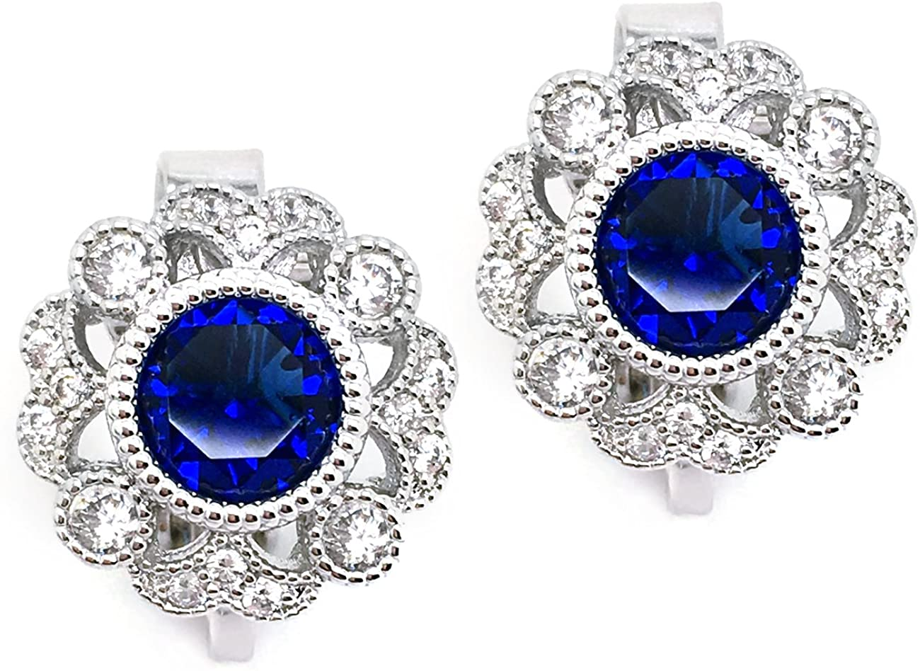 Sparkly Bride CZ Clip On Earrings Vintage Flower Blue Wedding Women Fashion