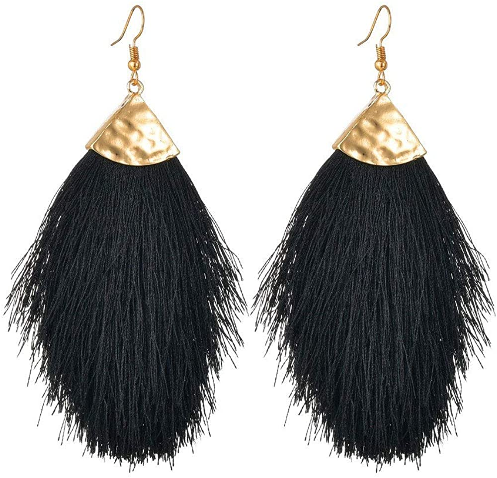 KaFu Light weight Bohemian Tassel Declaration Women's Pendant Earrings, String Fringe Light Feather Shape Pendant, Silky Thread Tassel Drop Earrings for women grils