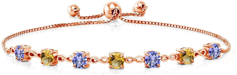Gem Stone King 2.48 Ct Round Blue Tanzanite Yellow Citrine 18K Rose Gold Plated Silver Bracelet
