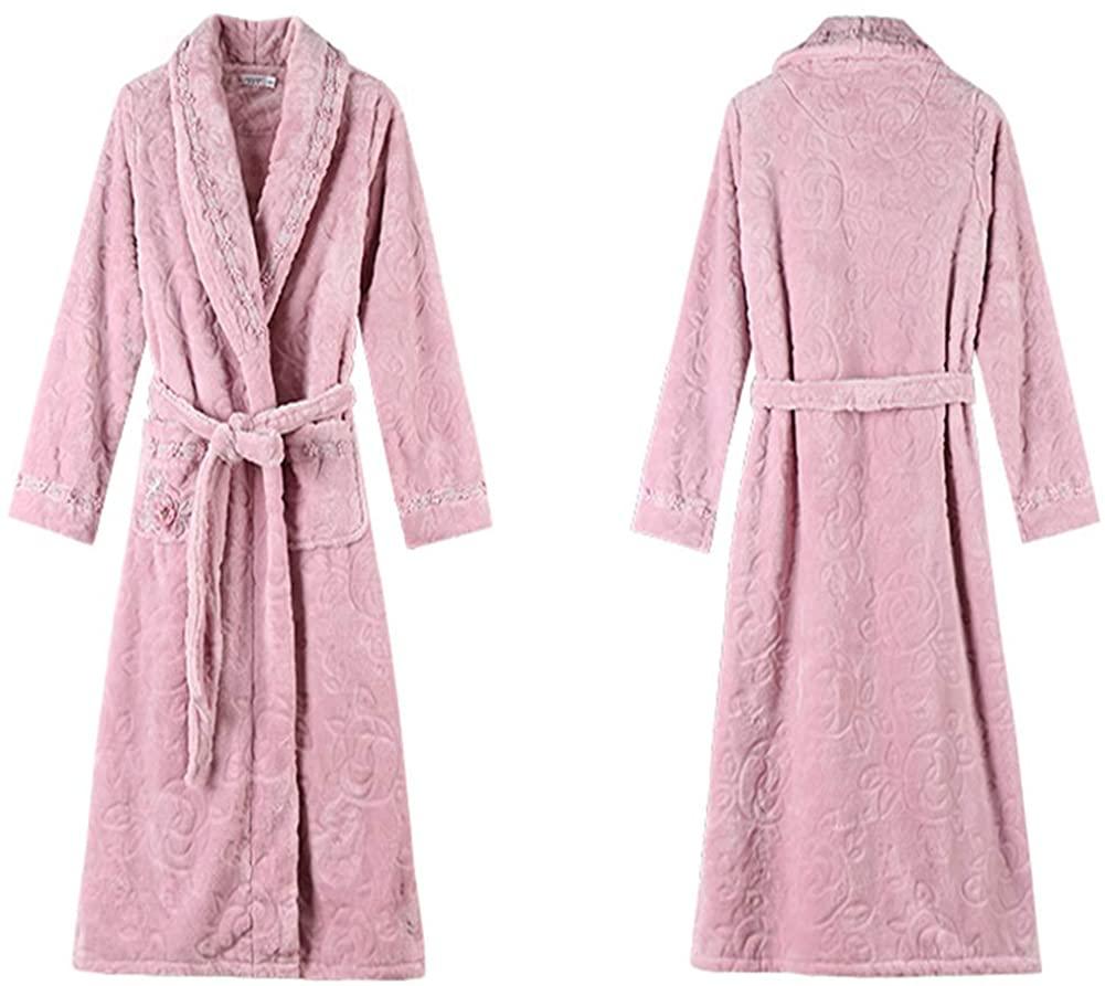 Robe Fleece Pajama Sleepwear Loungewear Winter Warm Bathrobe Shawl Collar Sleepwear for Women-Bean Sand Purple M