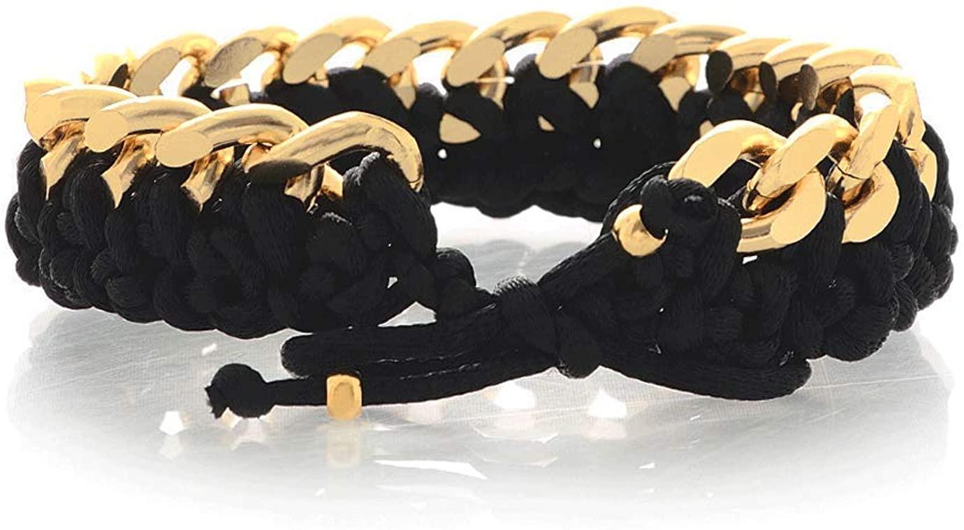 ALBERTO GALLETI Chain Gold Satin Woven Bracelet