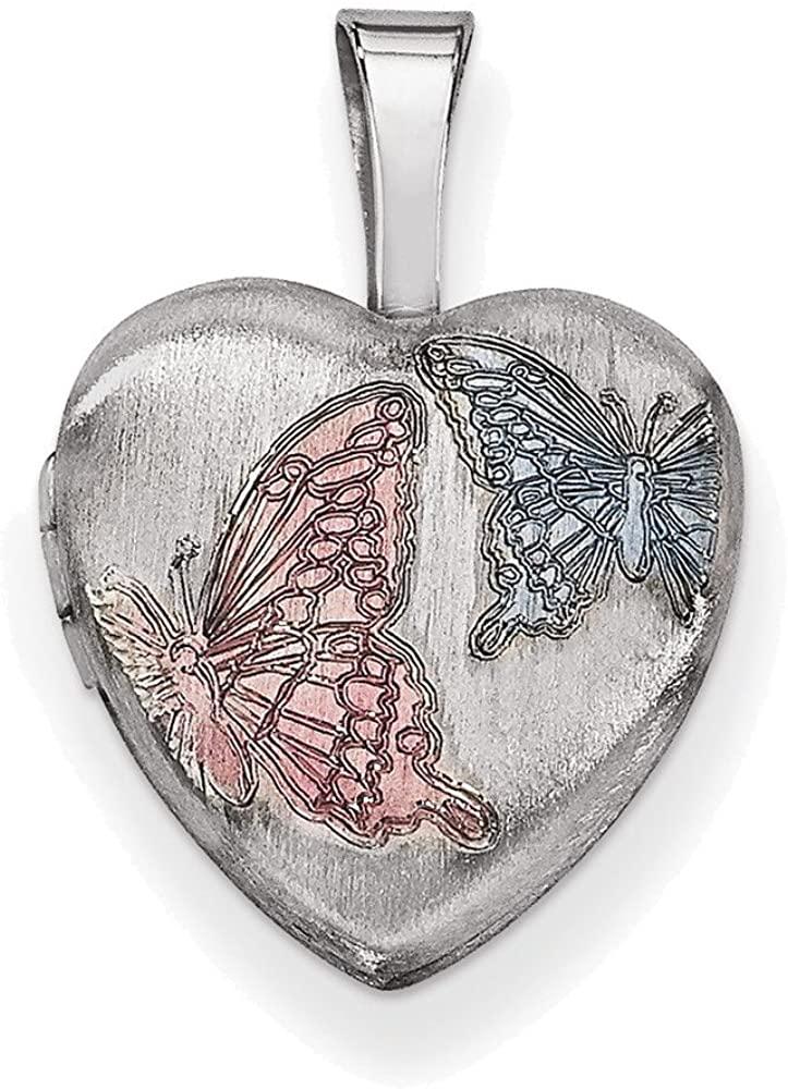 Sterling Silver Rhodium-plated Enamel Butterflies 12mm Heart Locket
