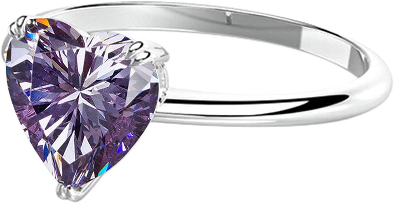 Aeici 925 Rings Women Heart Shape Purple Cubic Zirconia Promise Rings Size 5-12