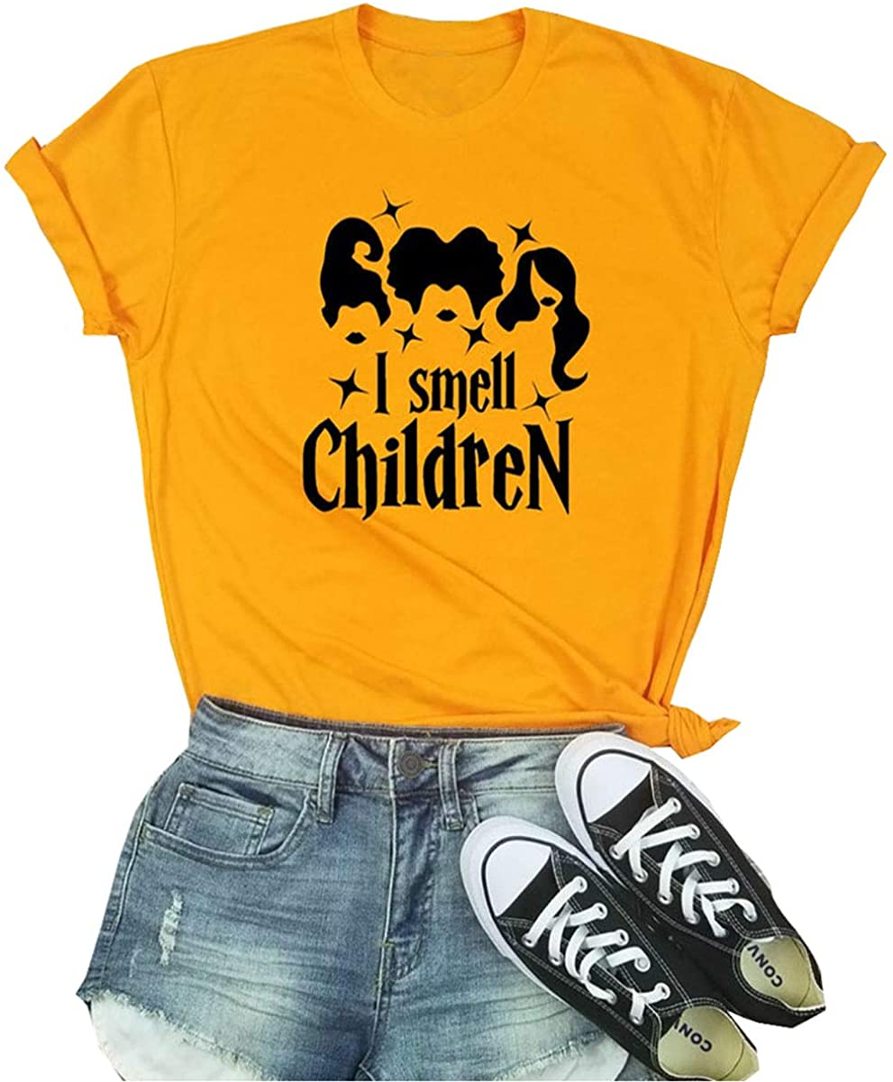 I Smell Children Tshirt Women Funny Sanderson Sisters Graphic Halloween Shirt Costume Hocus Pocus Tee Casual Fall Top