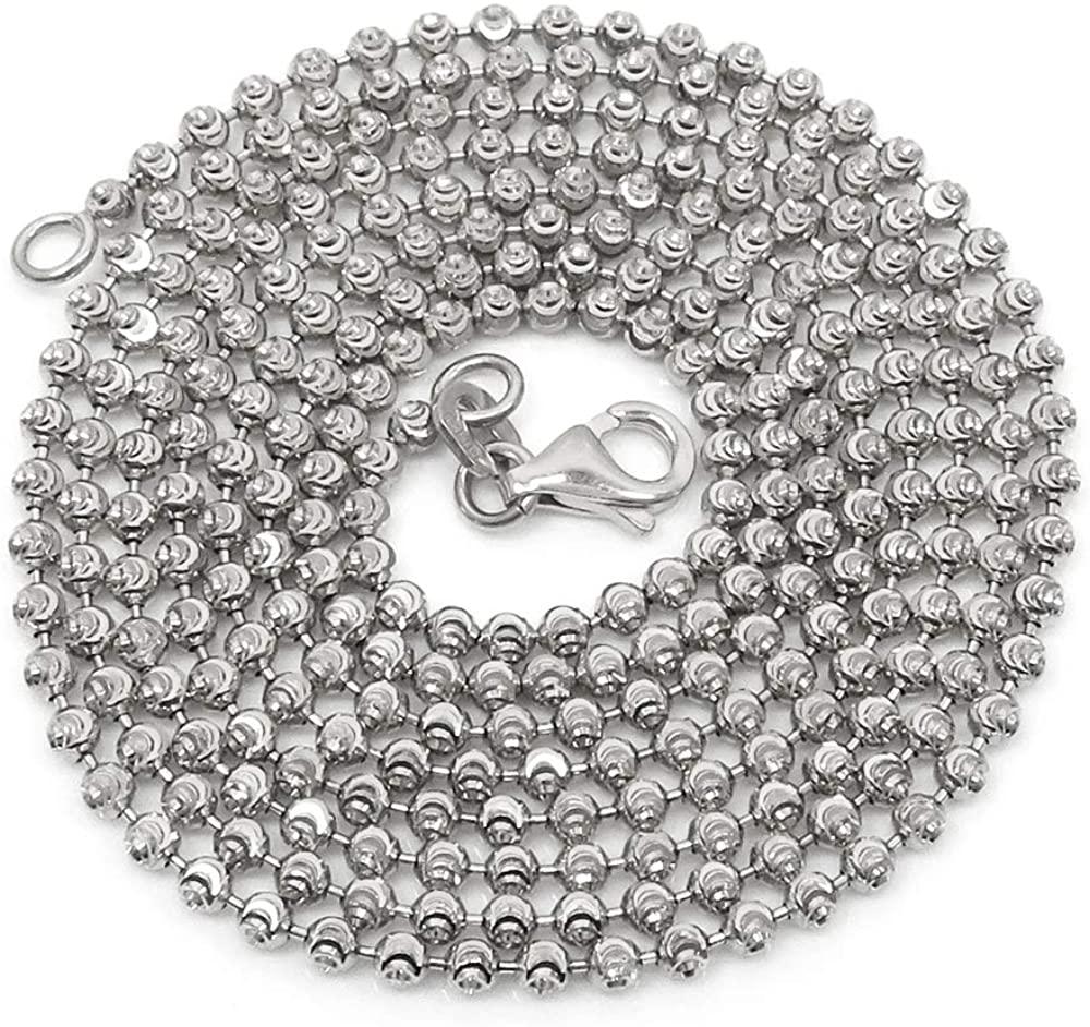 925 Italian Sterling Silver 2mm - 6mm Ball Bead Moon Cut Chain, FREE Microfiber Cloth, Rhodium Dog Tag Solid Necklace & Bracelet, Giorgio Bergamo