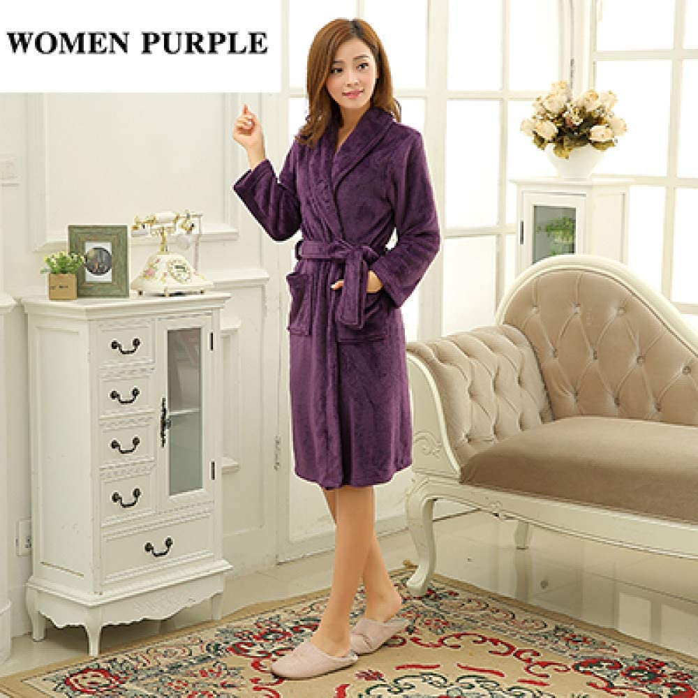 llwannr Bathrobe Robe Nightgown Sleep,Luxury Men Women Winter Long Warm Bathrobe Super Soft Flannel Bath Robe Mens Coral Kimono Robes Male Lounge Dressing Gown,Women Purple,M