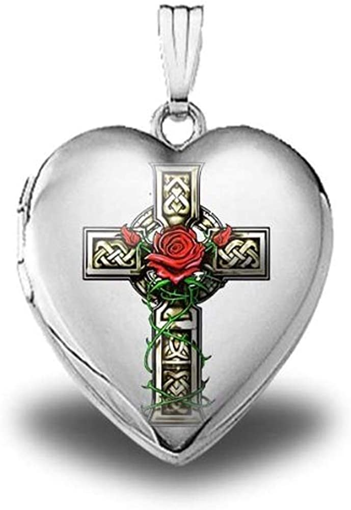 PicturesOnGold.com Sterling Silver Celtic Cross with Rose Heart Locket - 3/4 Inch X 3/4 Inch