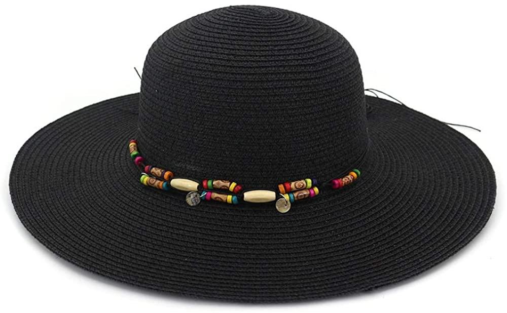YWHY Summer Women's Holiday Straw Seaside Sun Hat, New Sunshade Big Along Beach Sun Bonnet with Wild Big Edge