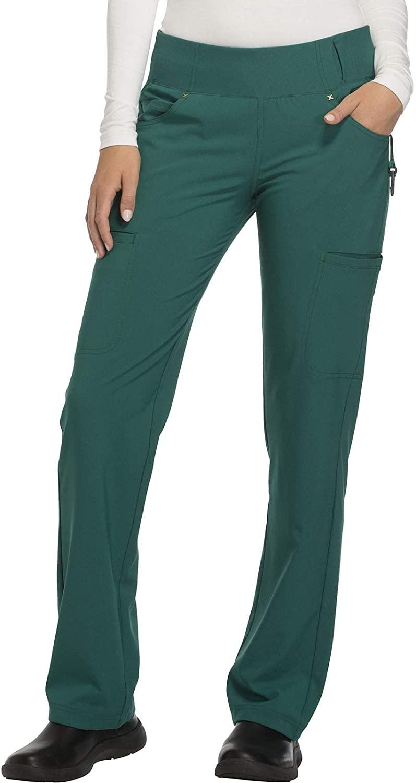 CHEROKEE iflex Mid Rise Straight Leg Pull-on Pant, CK002, XS, Hunter Green