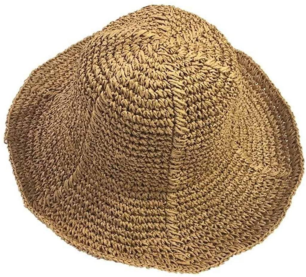 QIAOXINGXING Summer Travel Sunscreen Big Straw hat Korean Version of The Folding Visor Beach hat Fisherman Basin hat Female Casual Wild Mao zi JF (Color : Pink)
