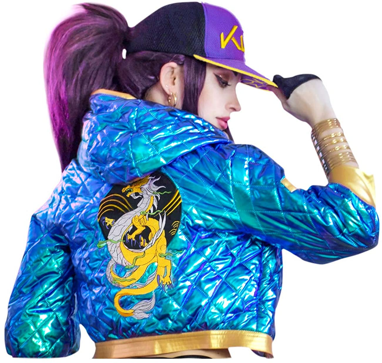 DAZCOS Akali Cosplay Costume Sparkle High Waisted Jacket for Women