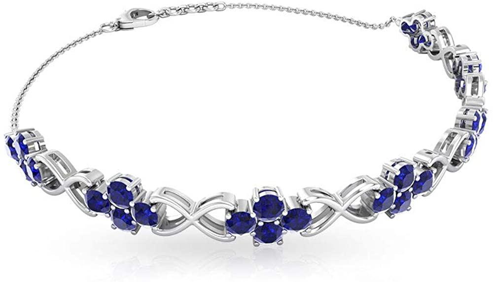 4.20 Carat Round SGL Certified Blue Sapphire Cluster Chain Bracelet, Solid Gold twisted September Birthstone Anniversary Bracelet, Women Birthday Gift