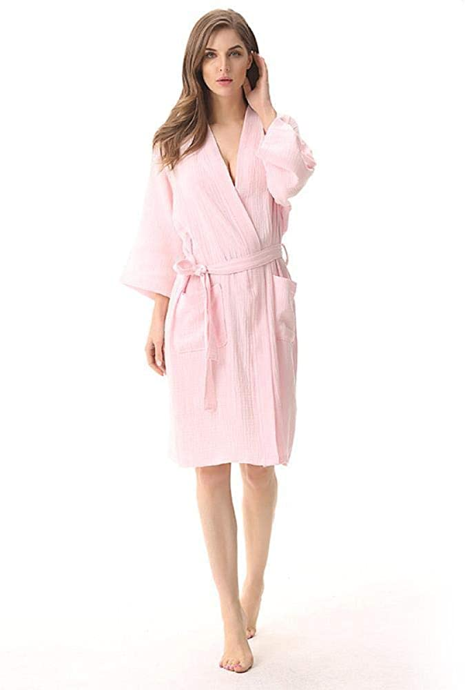 Plain Thin Bathrobe Double-Layer Washed Gauze Lady's Nightgown, XL, Pink