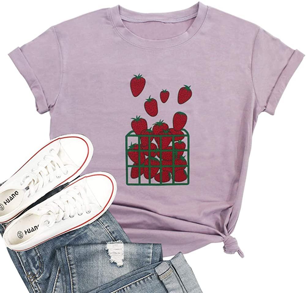 T&Twenties Women Strawberry Print T Shirt Fruits Lover Casual Short Sleeve Tops Blouse