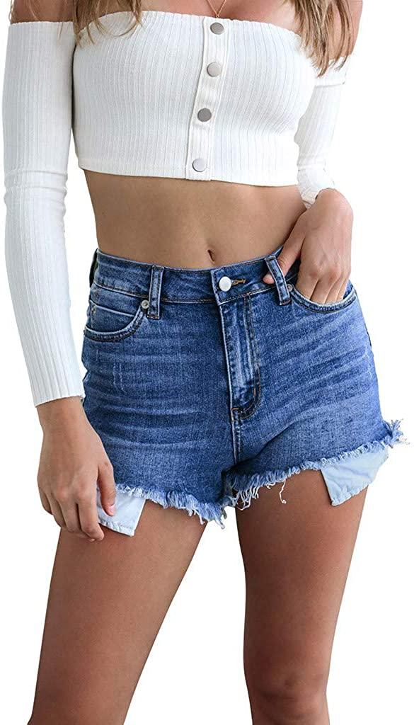 Sinzelimin Women's High Waist Stretch Denim Shorts Curling Short Jeans