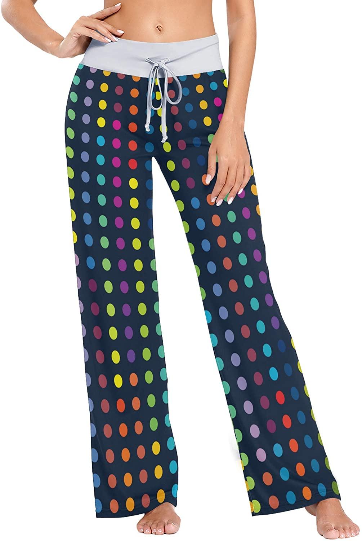 VVIEER Colorful Polka Dotes Print Womens Sleepwear Loose Palazzo Casual Drawstring Yoga Pants