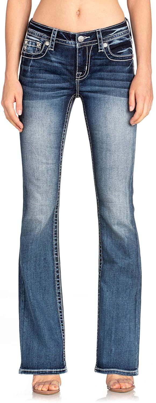 Miss Me Women's Medium Mixed Feather Bootcut Jeans - M3485b