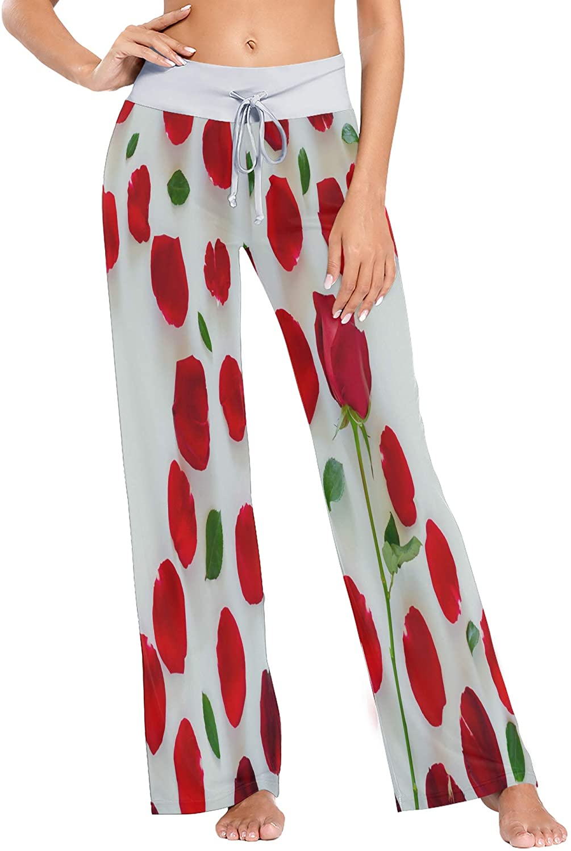 Womens Pajama Lounge Pants Pink Red Plumeria Flowers Floral Fantastic Wide Leg Casual Palazzo Pj Sleep Pants Laides