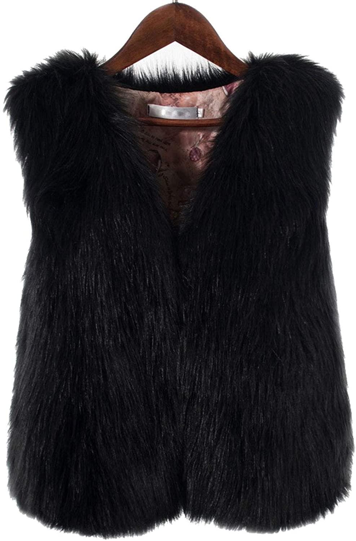 Flygo Women's Modern Autumn and Winter Faux Fur Vest Short Sleeveless Jacket