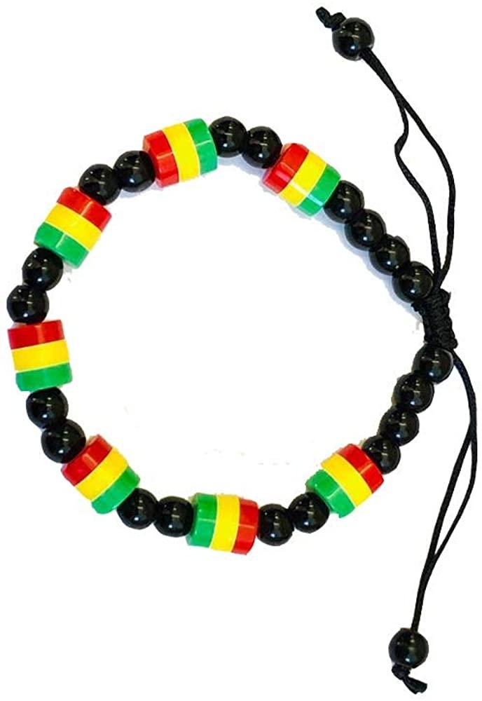 Adjustable Rastafari Beads Bracelet Black Green Yellow Red