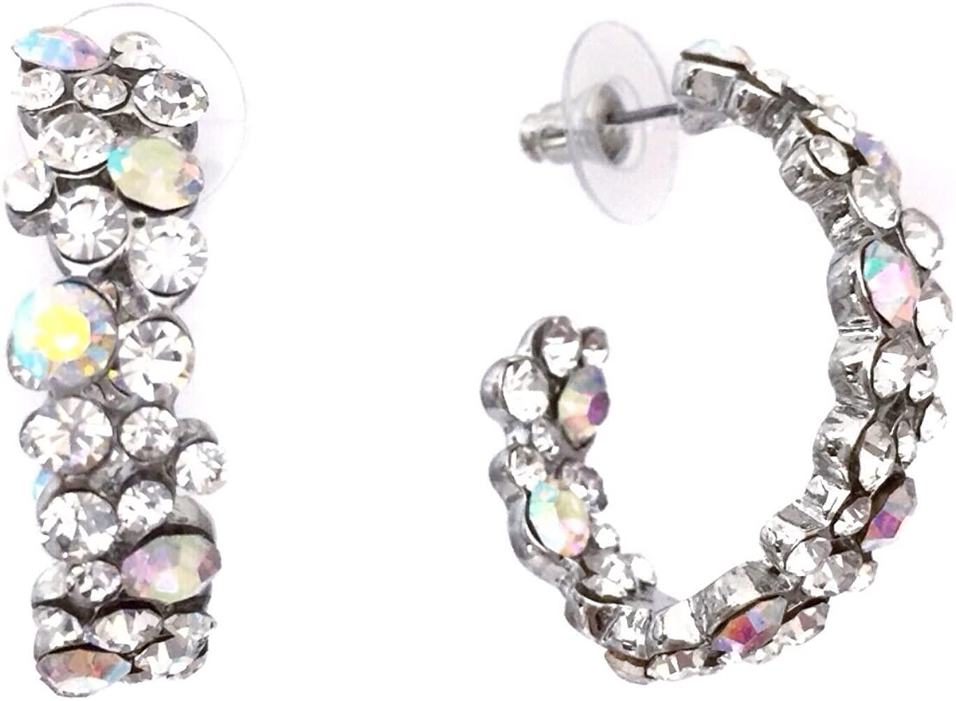 AB Clear Rhinestone Oval Hoop Formal Silver Tone Earrings