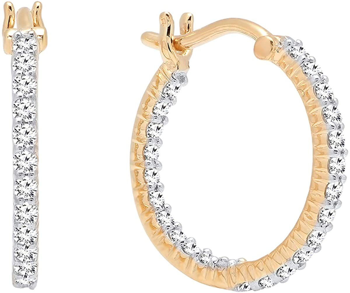 Dazzlingrock Collection 0.45 Carat (ctw) 10K Gold Round Lab Grown White Diamond Fine In And Out Hoop Earrings 1/2 CT