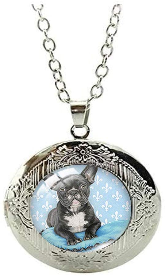 Beautiful French Bulldog Puppy Glass Photo Locket Necklace Art Dog Lover's Jewelry Beautiful Gift